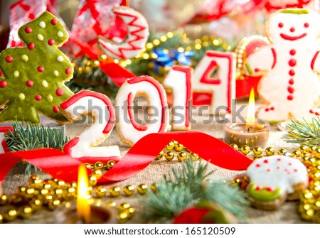 New Year\'s Eve 2014. Christmas cookies with frosting