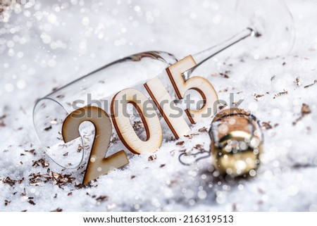 New Year\'s Eve concept with champagne cork and glass