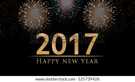 New Year's eve 3D illustration, card with colorful fireworks and golden Happy New Year text on black background