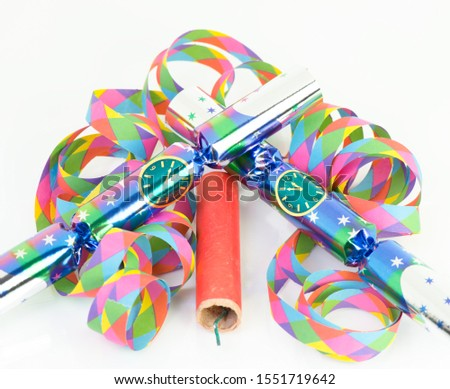 New Year's Eve decoration with firecracker for New Year's Eve celebration