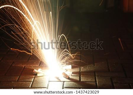 New year's eve firecracker on floor
