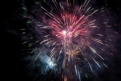 New Year's Eve 2017, fireworks illuminating the night sky with patterns and colours.