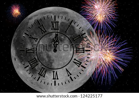 new year's eve midnight clock on full moon with fireworks