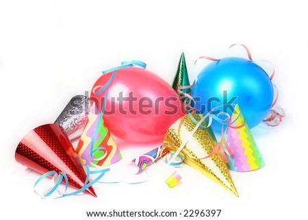 New Year's Eve party props over white background