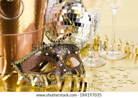 New year\'s eve still life, golden background.