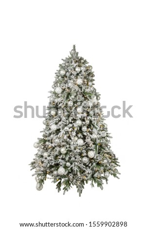 New Year 's Eve white tree with white toys, white beads on white background