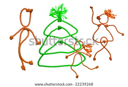 New year's fir tree from rope on white background