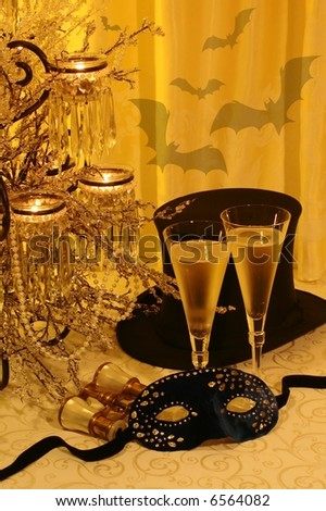 New Year's, opera/theater, halloween, costume ball concept; Die Fledermaus (the bat) operetta traditional New Year's event: masquerade, revenge of the bat (a character), music & champagne. - stock photo