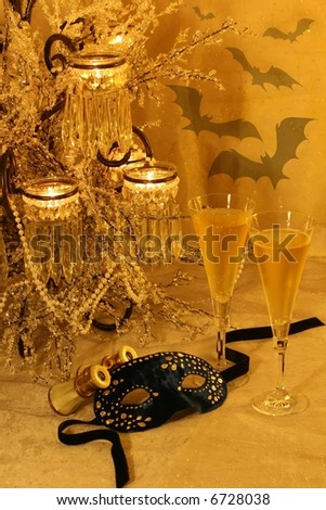 New Year's, opera/theater, halloween, costume ball concept; Die Fledermaus (the bat) operetta traditional New Year's event: masquerade, revenge of the bat (a character), music & champagne.