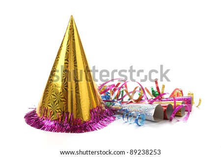 New Year\'s party hat and noisemaker with streamers