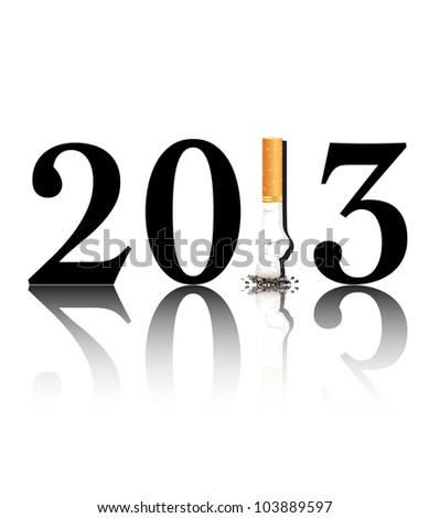 New Year's resolution Quit Smoking concept with the i in 2013 being replaced by a stubbed out cigarette. Also available in vector format.