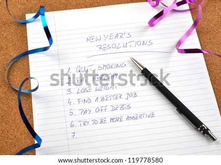New Year's resolutions listed and ribbons - stock photo