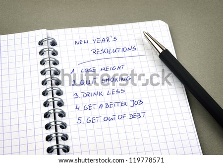 New Year's resolutions listed in notepad