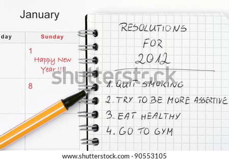 New Year's resolutions listed in the notepad