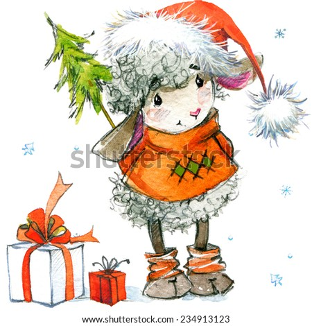 New year sheep Christmas background with winter decor