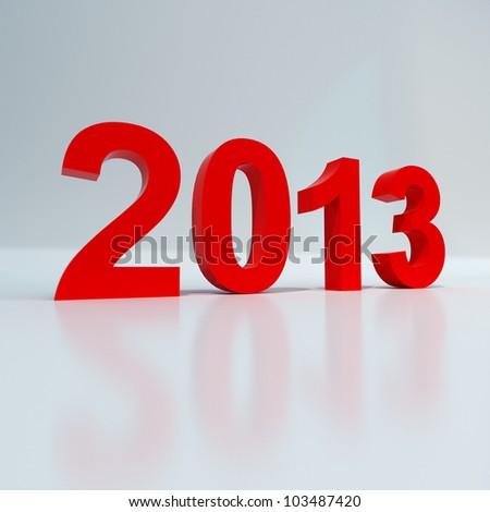 New year 2013 shiny red on white background - stock photo