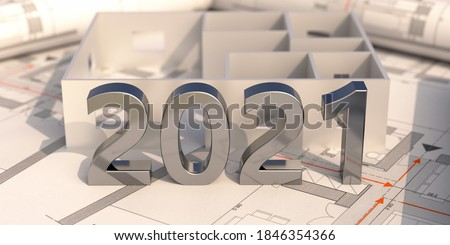 New year 2021 shiny silver number on construction project blueprint. Architect engineer office. 3d illustration