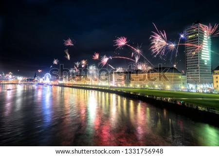 New year Silvester firework Dusseldorf  Düsseldorf, North Rhine-Westphalia, germany #1331756948