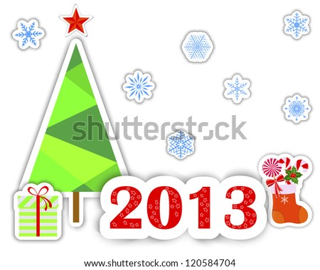 New Year 2013 stickers with christmas tree; snowflakes and gift.   Raster version.
