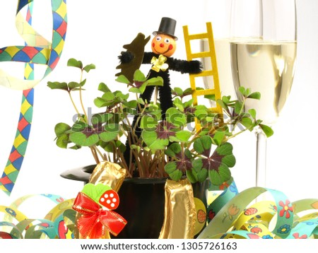 New Year - Sylvester Decoration on white Background #1305726163