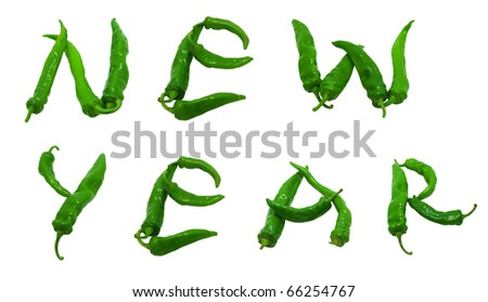 New year text composed of green peppers. Isolated on white background.