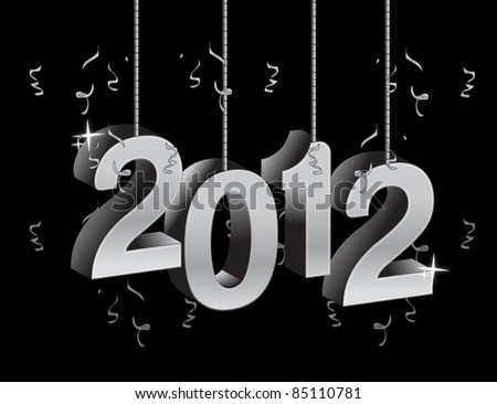 New year 2012 text ornament illustration