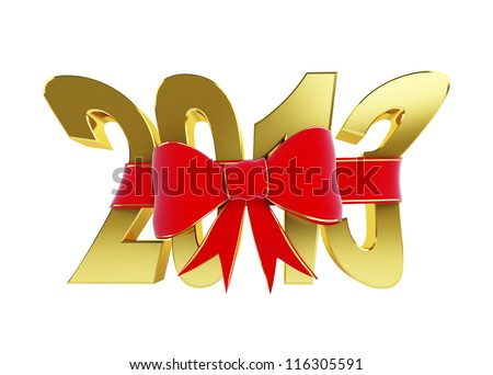 new year text red bow on a white background - stock photo