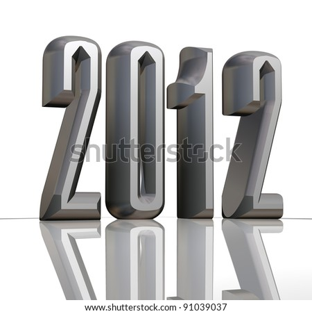 New year 2012 text with reflection on white background