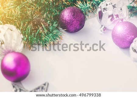 new year theme christmas tree purple and silver decorations balls on white retro wood - Purple And Silver Christmas Decorations