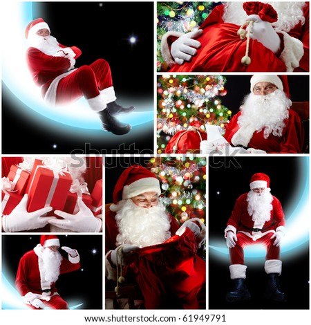 New Year theme: Santa Claus and presents
