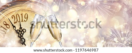 New Year 2019 - Toast With Champagne And Clock  - Shutterstock ID 1197646987