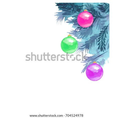 New year watercolor elements for design. Christmas card