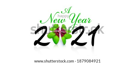 New year wish for 2021 with clover leaf 3D-Illustraion Photo stock ©