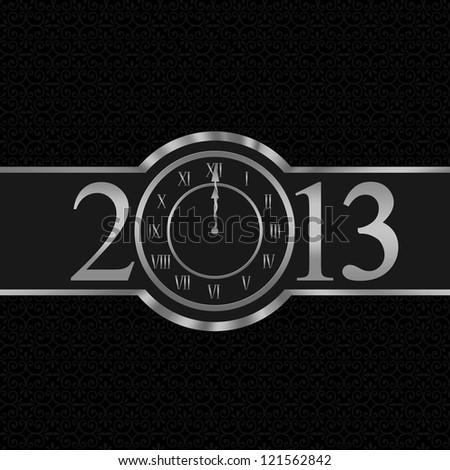 New year 2013 with clock instead number zero