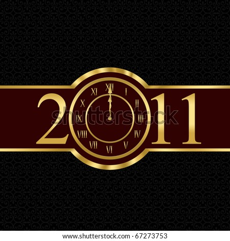 New year 2011 with clock instead number zero