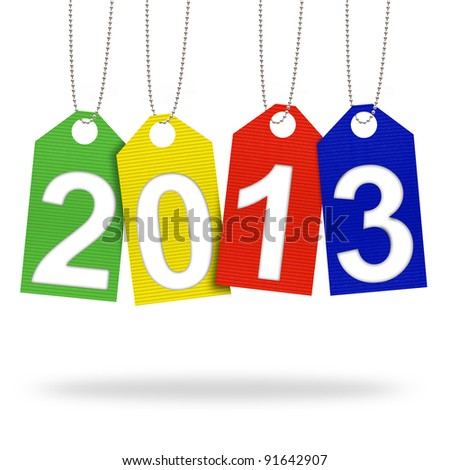 new year 2013 with Corrugated paper craft on white background
