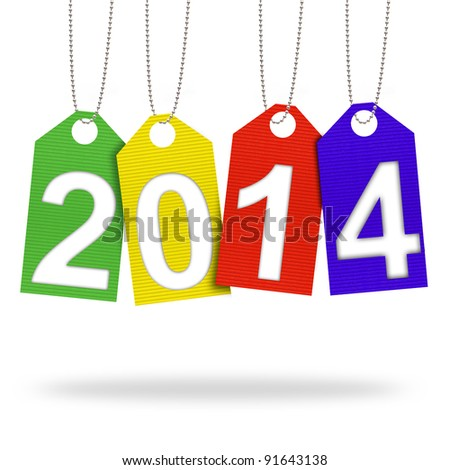new year 2014 with Corrugated paper craft on white background - stock