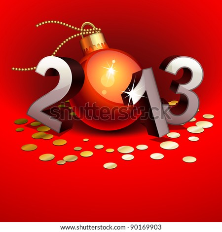 New year 2013 with numbers and bauble - stock photo