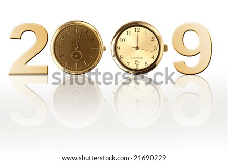 New Year 2009 with two clocks as zero digits over white