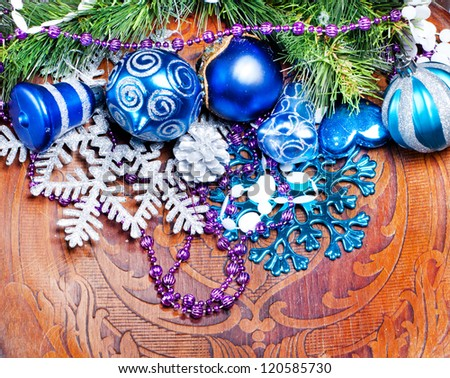 New year wood background with beautiful decorations for holiday design