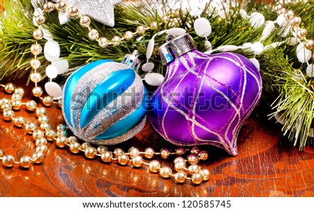 New year wood background with colorful decorations for holiday design