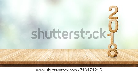 New year 2018 wood number (3d rendering) on wooden plank table at blur abstract green bokeh background,Mock up banner space for display or montage of product,business presentation #713171215