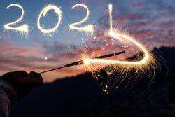 New year 2021 written by sparkler