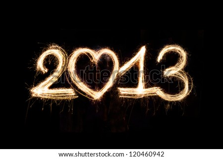 New Year 2013 written with Sparkling figures.
