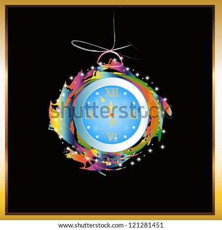New Years clock.Holiday card - stock photo