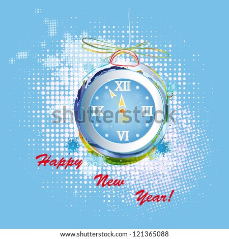 New Years clock on a abstract background