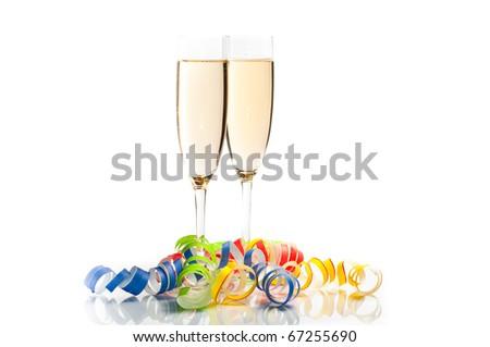 new years decoration on white background - stock photo