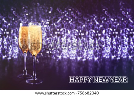 new years eve celebration abstract glitter defocused background with champagne copy space art christmas