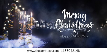 New years eve celebration background with champagne, Christmas and New Year holidays background, winter season.  - Shutterstock ID 1188042148