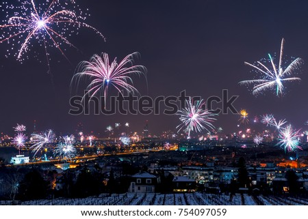 New Years Eve fireworks above Vienna skyline